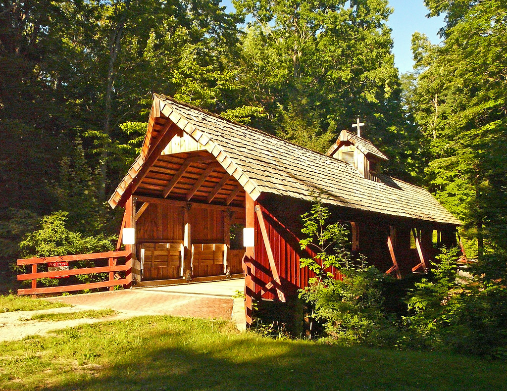 Evening Sun On The Loon Song Covered Bridge At Joshua S