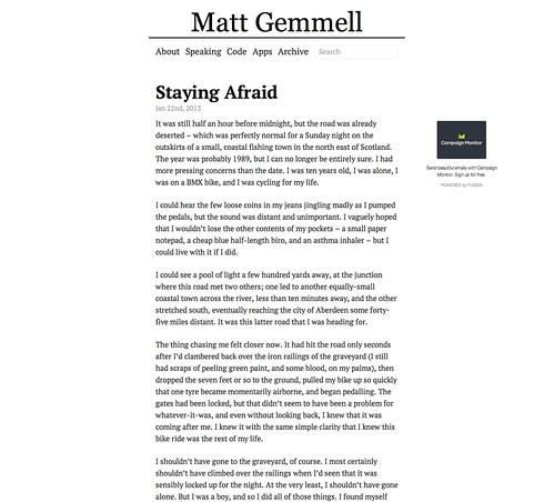 Current theme for my blog at mattgemmell.com | by Matt Gemmell