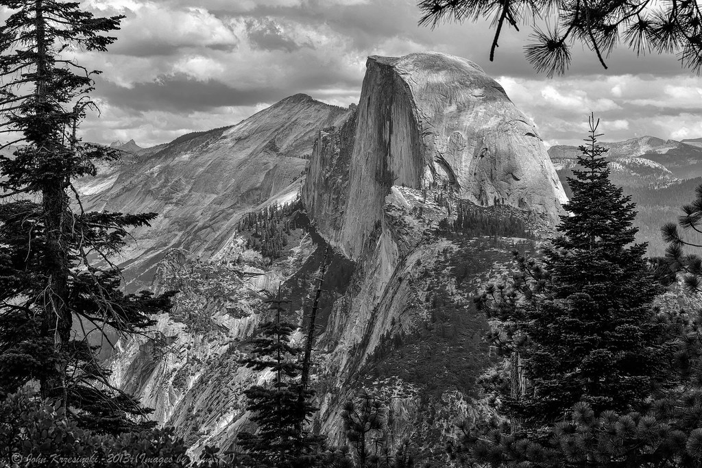 Visions of yosemite in black and white half dome from glacier point by images