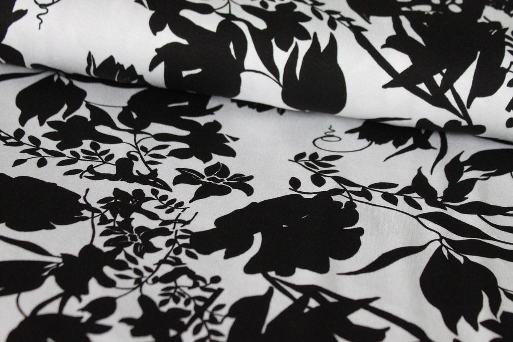 Jersey Blumen schwarz weiß