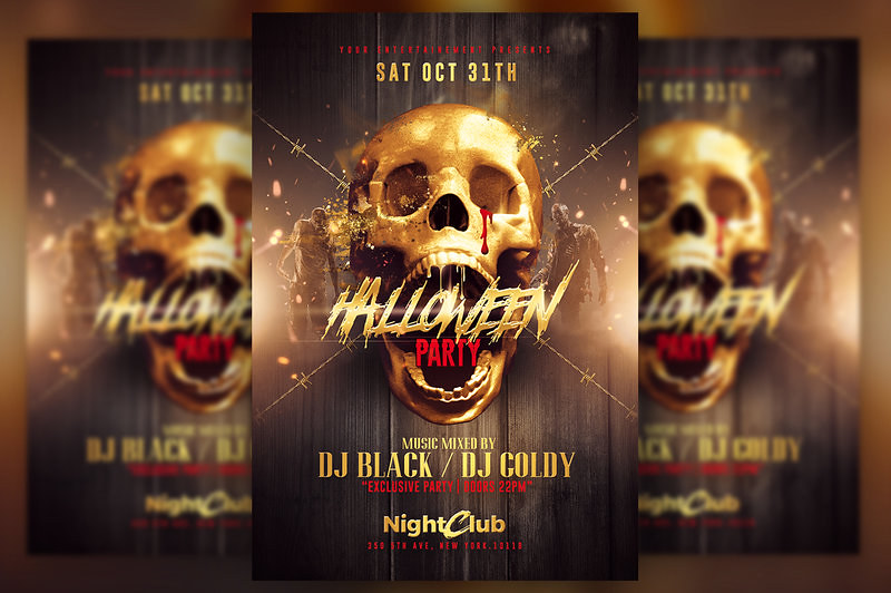 halloween party gold pack templates by rome creation