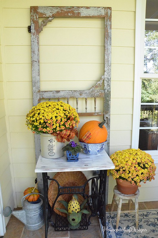 Vintage Screen Door = Fall Porch -Housepitality Designs