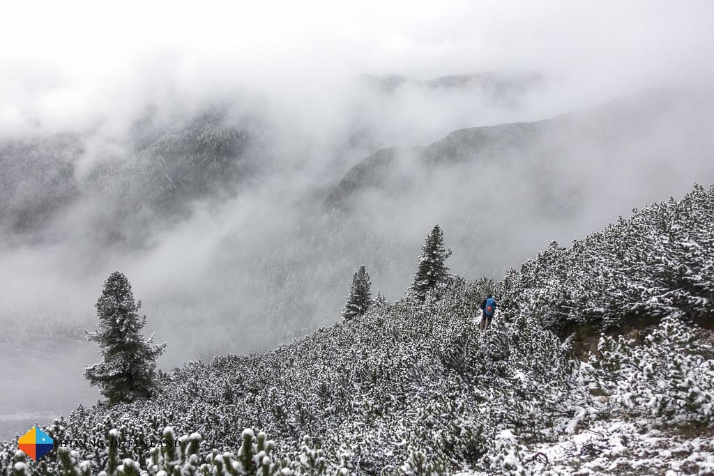 Descent through snowy switchbacks
