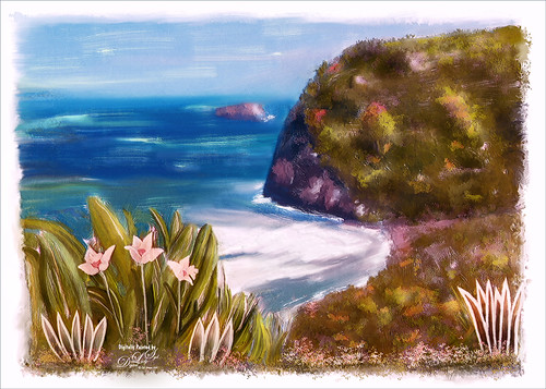 Painted image of Pololu Valley on the Big Island in Hawaii