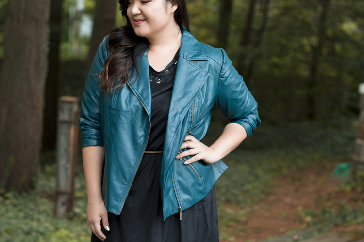 Curvy Girl Chic Plus Size Fashion Blog Vermont Teal Moto Jacket Black Suede Dress Catherines Fall Nighttime Outfit