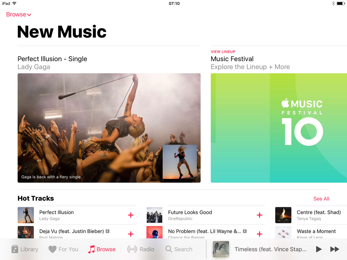 Music app on the iPad