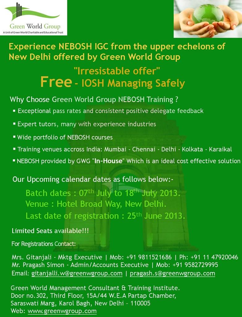 Nebosh Courses From Green World Group Delhi Branch Flickr