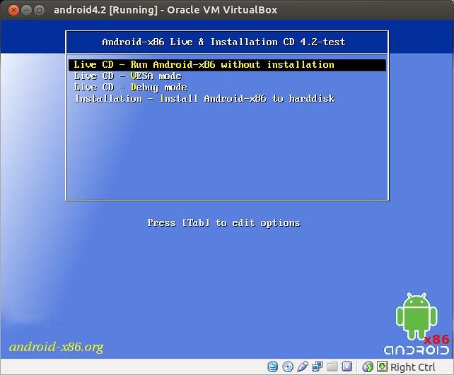 Android x86 install virtualbox