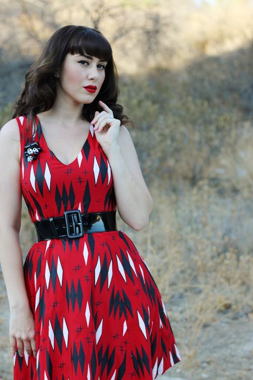 Sourpuss Clothing Retro Diamonds Dress in Red