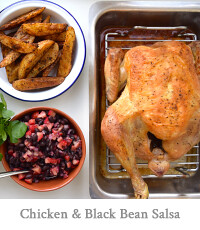Roast Chicken with Strawberry & Black Bean Salsa