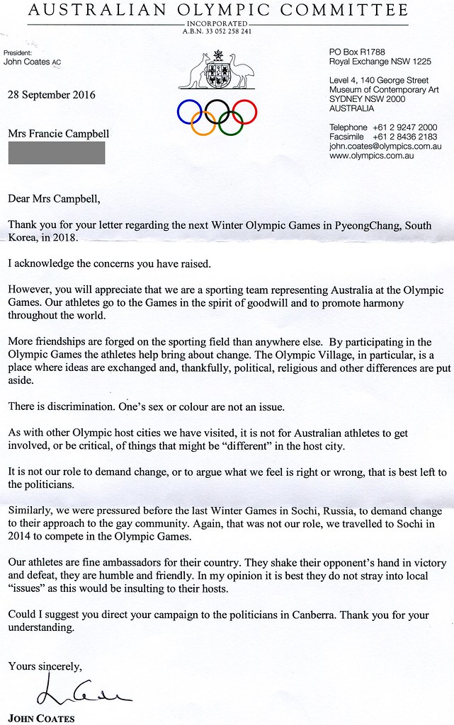 Disappointing response from Australian Olympic Committee Chairman John Coates