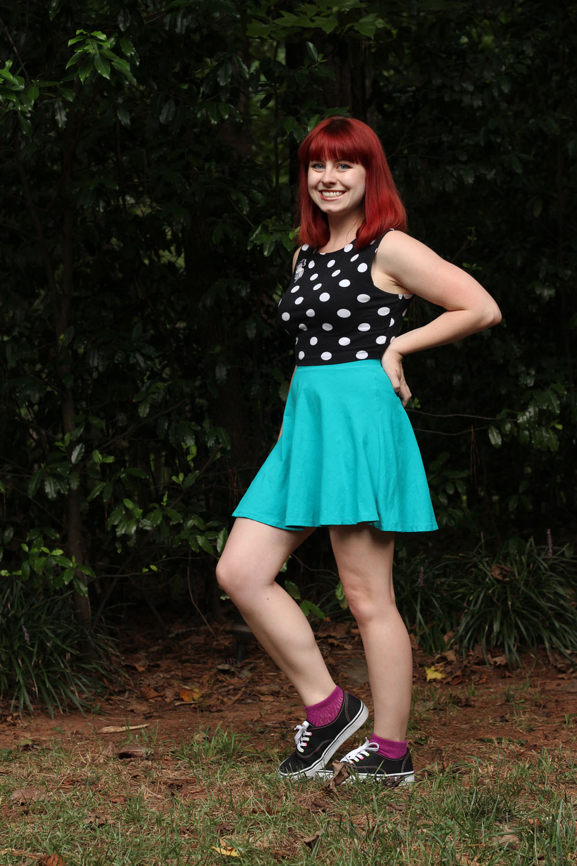 Polka Dot Sleeveless Crop Top Blue Simple Skater Skirt Purple Socks Black Sneakeres