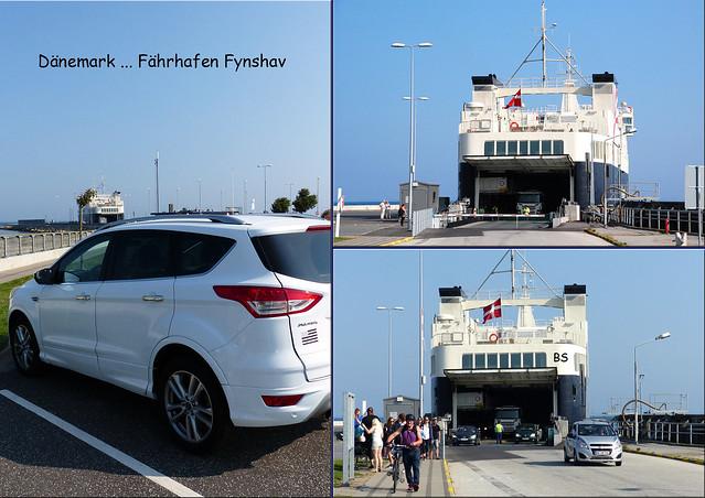 Dänemark. Ostsee-Fährhafen Fynshav. Von hier verkehren (Auto- und Fußgänger-) Fähren (dänisch: Færgen) von und zu der Insel Fünen (dänisch: Fyn). Fyn ist die drittgrößte Insel Dänemarks, sie liegt zwischen dem Kleinen und dem Großen Belt ... Fotos und Collagen: Brigitte Stolle 2016