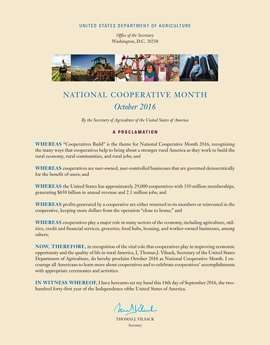 USDA National Cooperative Month Proclamation