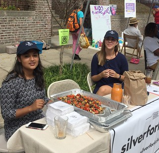 Silver Fork Club Ambassadors offer veggie skewer samples | by buhrayin