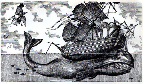 Etching Maritime Whale Illustration Old Fashioned Ship E6d