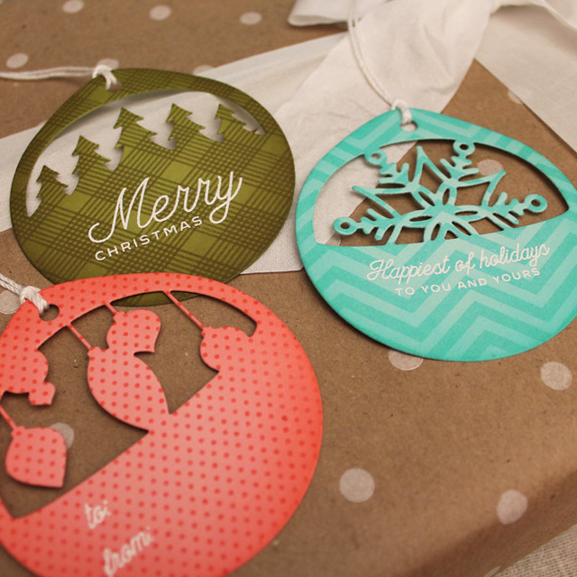 Patterned Christmas Cuts Tags Close Up 2