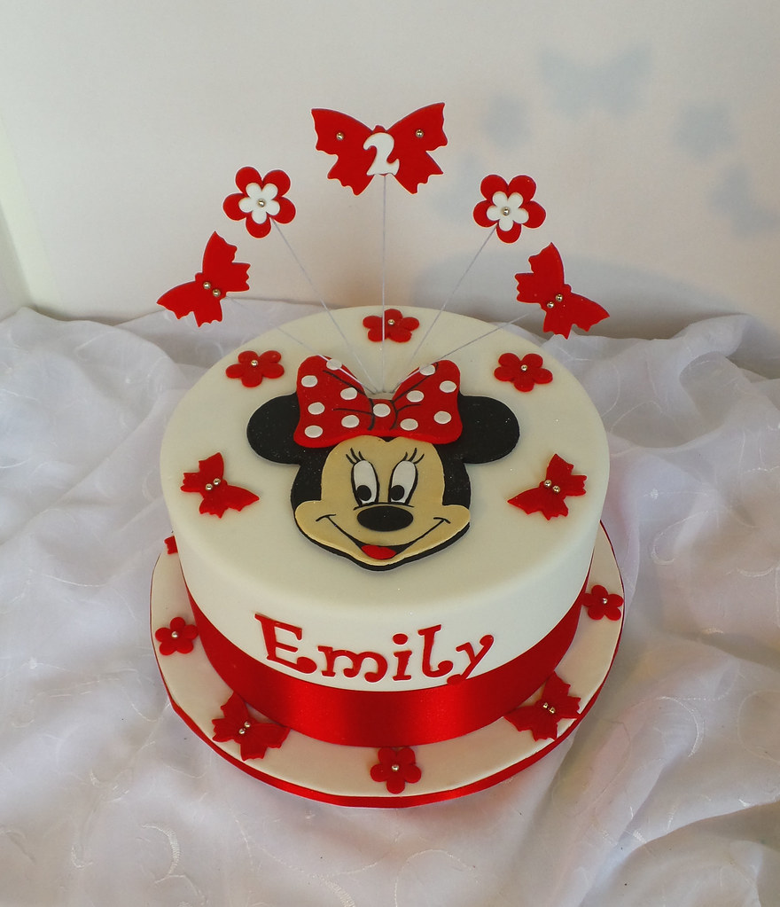 Minnie mouse themed birthday cake with fondant face topper flickr by minnie mouse themed birthday cake with fondant face topper flowers and butterflies by izmirmasajfo