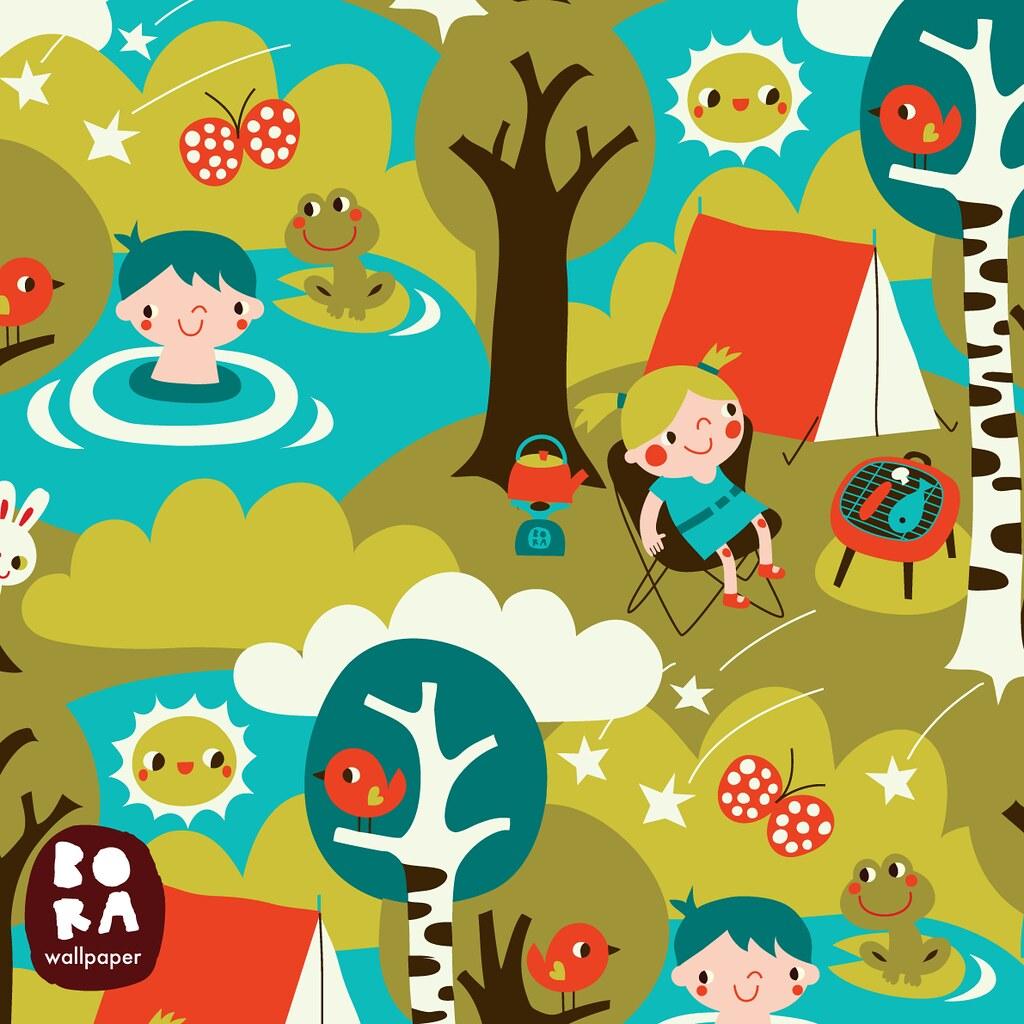 Camping Cartoon Wallpaper