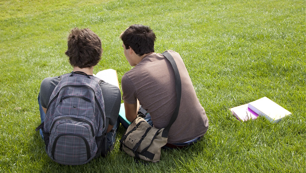 Two male students with their backs to the camera sat on some green grass