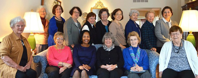 WCCPNJ 2016-2017 Board Members, photo taken at Windrows/Princeton, Oct. 5, 2016: Front Row seated: L to R -Barbara Johnson, Marlene Gordon, Lynda Woods Cleary, Kathy Hutchins, Carol Stawski, Beverly Crane-Dubee; Back Row standing: L to R -Mary Giordmaine, Florence Begun, Beverly Kestenis, Gay Culin, Mary Laity, Helen Ju, Danuta Buzdygan, Janet Reiche, Nora Ananos; Not pictured: Nancy Lifland, Mary Francis Stahler. Photo credit: Nora Ananos.