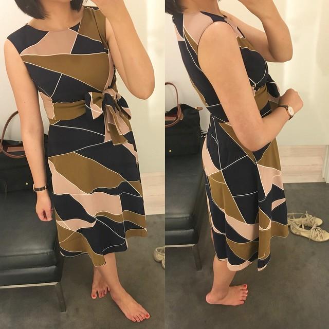 Ann Taylor Modern Geo Tie Waist Dress, size 0P
