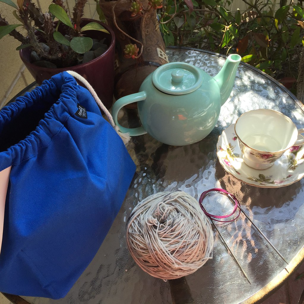 a pot of chai, set up to enjoy while casting on a new project, in the beautiful spring sunshine