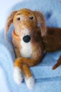 dog detail 1-Needle felted dog in chair | by Textile Art/Needle Felting