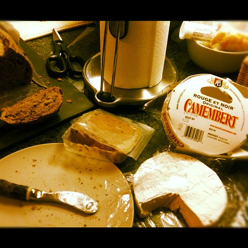 My version of a balanced dinner: Pâté, Camembert and a baguette | by aliaKJ