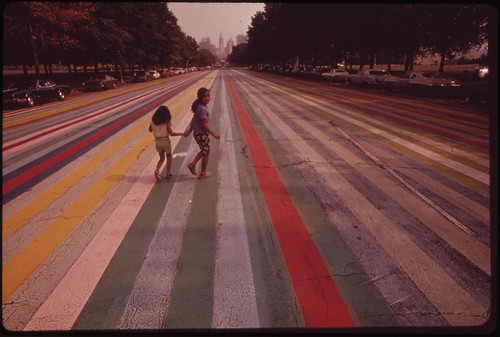 Crossing The Painted Road Which Extends East From The Philadelphia Museum Of Art, August 1973 | by The U.S. National Archives