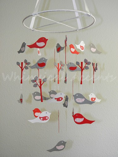 Love Birds Baby Paper Mobile in Red, White and Gray | by Whimsical Accents