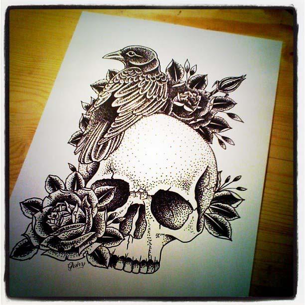 Skull Crow Roses Dotwork  Ink Pen On Paper GUIVY
