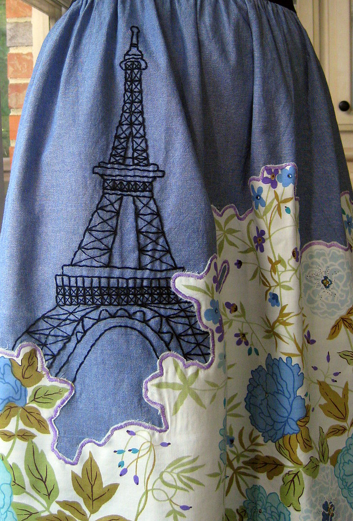 Embroidered eiffel tower i completed a dress diy with