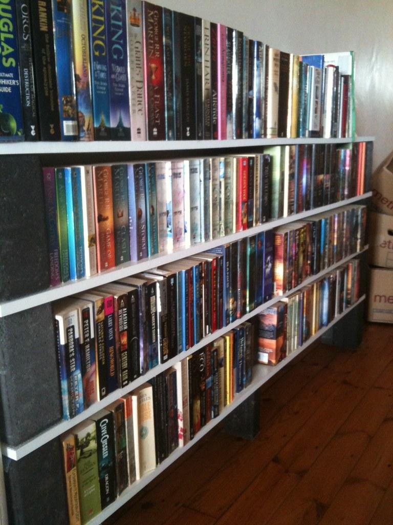 White Melamine Shelves + Black Bricks