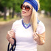 jersey diy turban - vintage blue necklaces