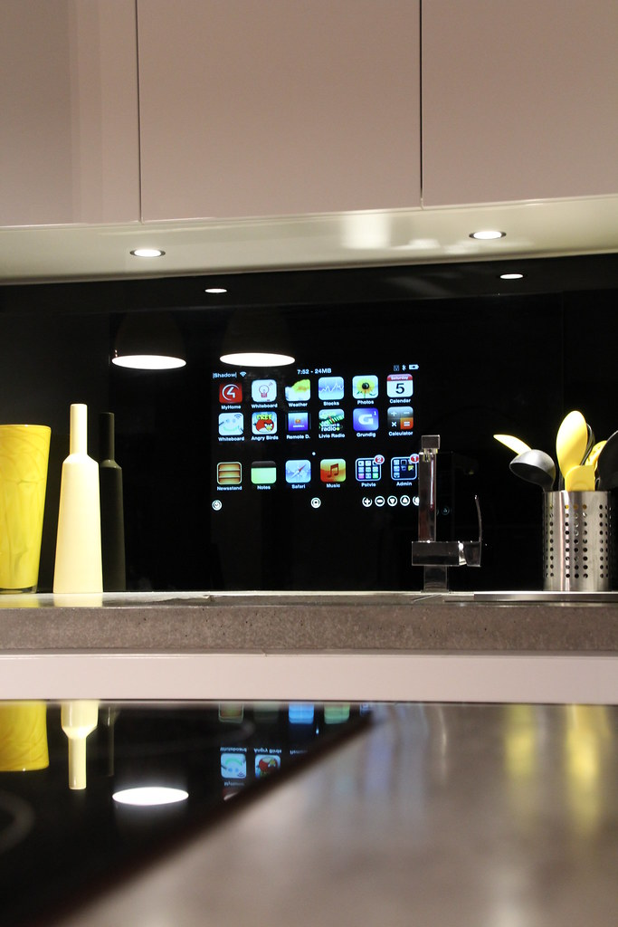 kitchen integrated ipod in glass splashback www made to order cabinets bend oregon made to order cabinets bend oregon