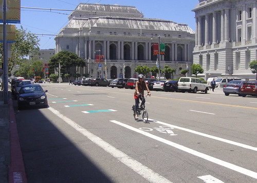 Dashed green pavement treatment on Grove Street bicycle lanes approaching Polk Street | by sfbike