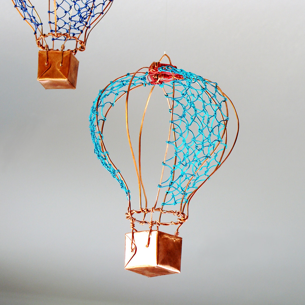 ... Copper Wire Hot Air Balloon Aqua | by Ruth Jensen