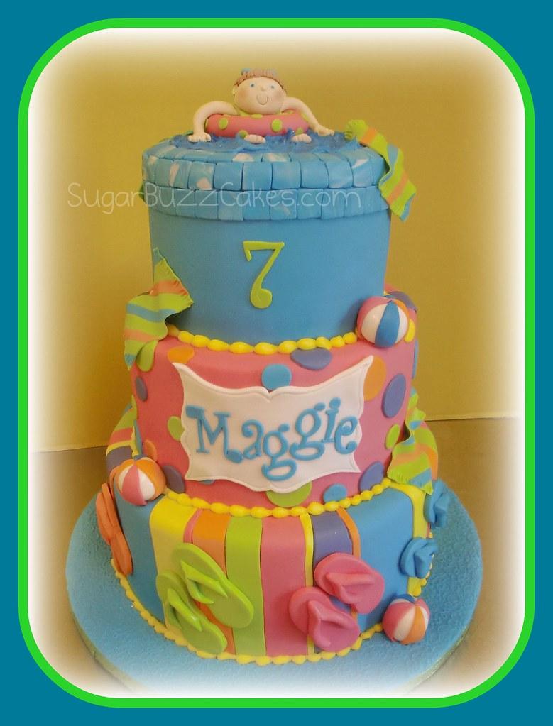 Astonishing Flip Flop Pool Theme Birthday Cake Carol Flickr Birthday Cards Printable Inklcafe Filternl