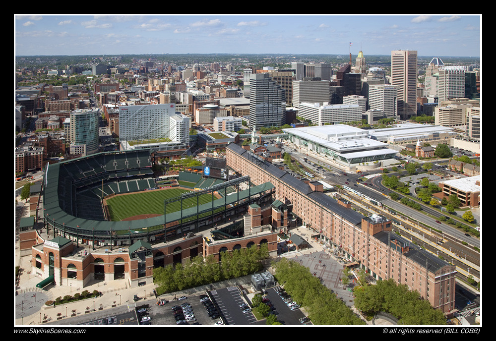 Camden Yards Downtown Baltimore Maryland Aerial Of