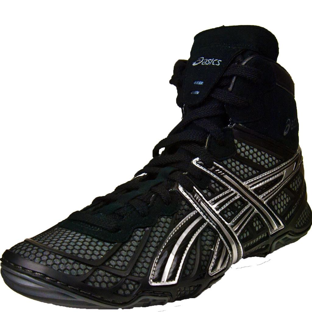 asics dan gable wrestling shoes black charcoal silver flickr