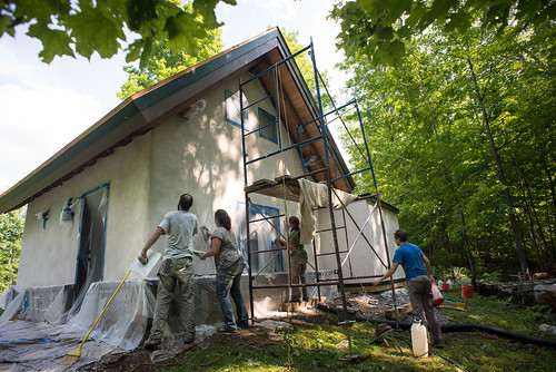 Vermont Natural Homes Plastering Strawbale Cottage | by goingslowly