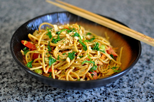 Vegetarian Red Curry Peanut Noodles | by Cathy Chaplin | GastronomyBlog.com