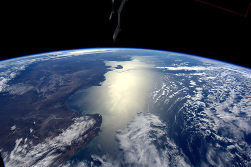 Argentinian coastline, as seen from the ISS | by europeanspaceagency