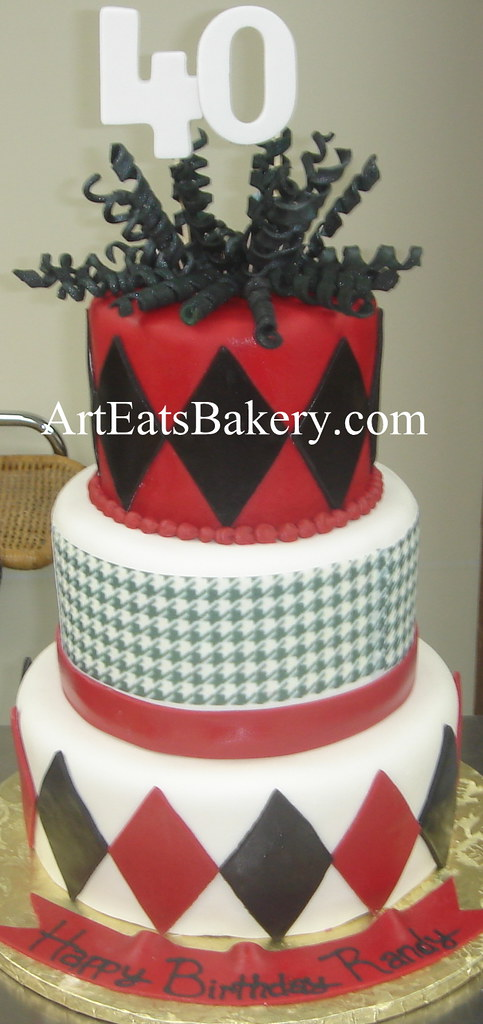 Three Tier Red Black And White Fondant Houndstooth And Di