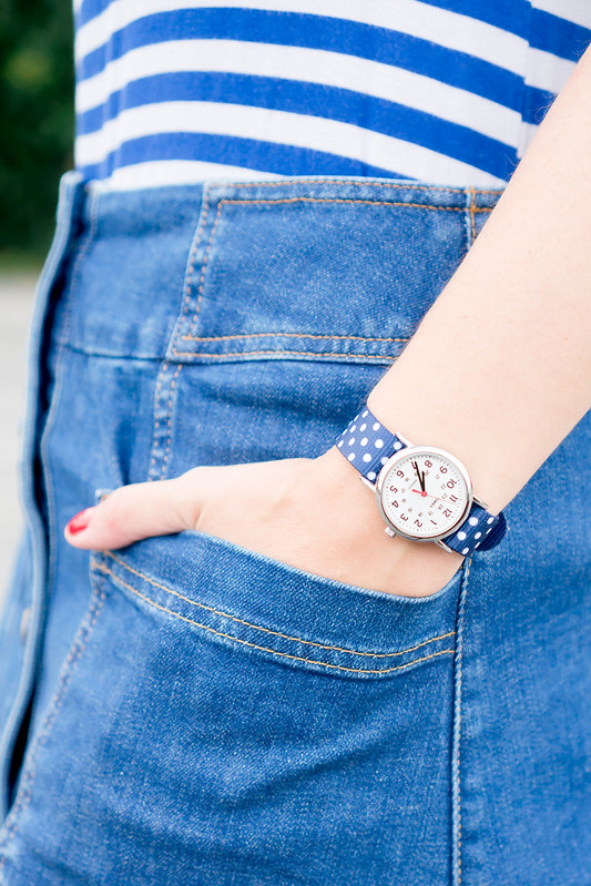 Colts football hat + blue and white stripe tee + Boden denim button skirt + cobalt blue ballet flats   Style On Target blog
