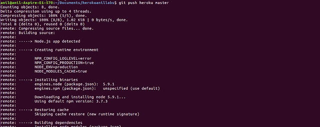 Deployment screen-1 -- Deploy Node.js application to Heroku