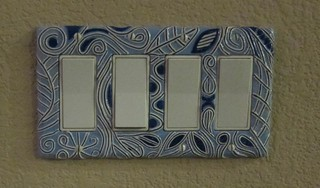 bracelet clé plate blue and white switch plate cover made it with polymer 9822