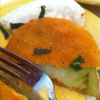 Fried green tomato & goat cheese grits at @tupelohoneycafe. #exploreavl | by amberdegrace