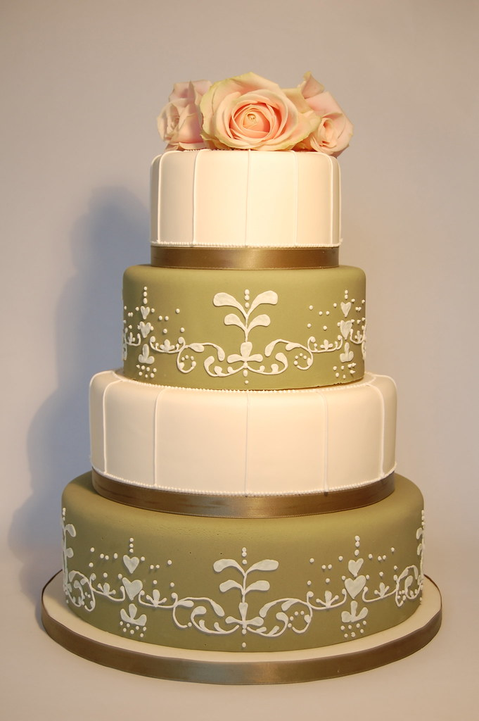 4 tier round vintage sage green and ivory wedding cake, wi… | Flickr